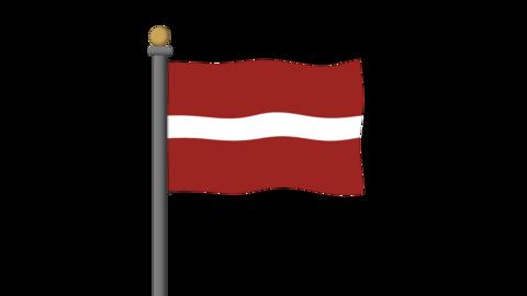 ラトビアの国旗 背景はアルファチャンネルです。 CG動画