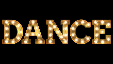 Light bulb letter tow way blinking aktion spelling the word Dance CG動画