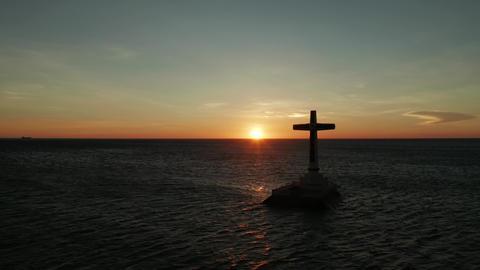 Sunken Cemetery cross in Camiguin island, Philippines Live Action