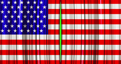 high quality animation perfectly curtain with united states of america, usa flag opening movement Live Action