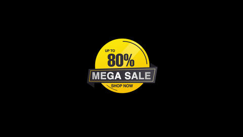 80 Percent Sales Discount Banner Animation with QuickTime / Alpha Channel / Prores 4444 Animation