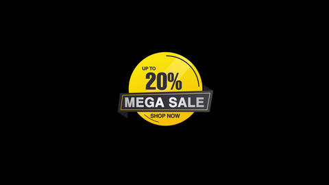 20 Percent Sales Discount Banner Animation with QuickTime / Alpha Channel / Prores 4444 Animation