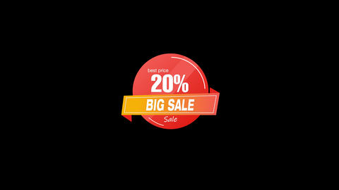 20% Percent Sales Discount Banner Animation with QuickTime / Alpha Channel / Prores 4444 Animation