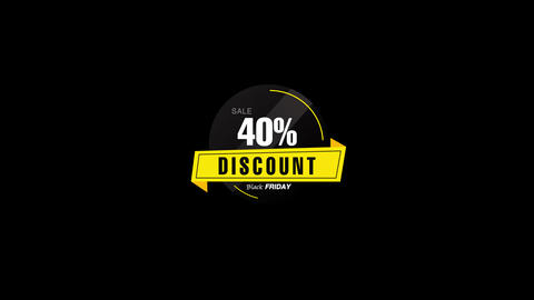 40% Percent Sales Discount Banner Animation with QuickTime / Alpha Channel / Prores 4444 Animation