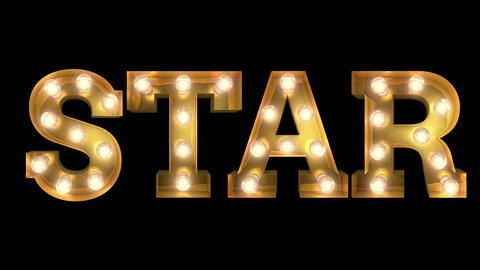 Light bulb letter tow way blinking aktion spelling the word star Animation
