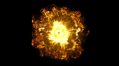 Inferno fireball. Abstract burning sphere with glowing flames Videos animados