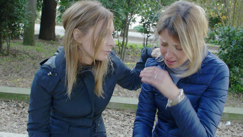 young woman comfort her friend: problems, trouble, sadness, crisis Footage