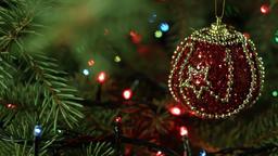 beautiful Christmas composition, Christmas tree with ball and garland Footage