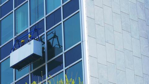 skyscraper window glass cleaner Footage