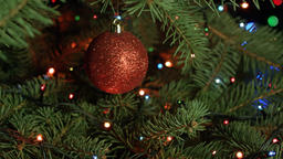 Christmas and new year decorations on the Christmas tree, colorful lights, fabul Footage