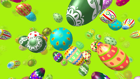 Flying easter eggs generated 3D video GIF