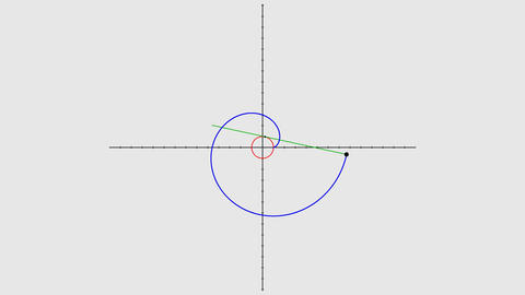Drawing evolvent spiral demonstration seamless loop Animation