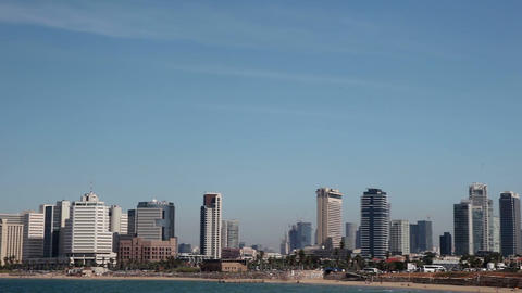 Tel - Aviv, Israel – October 30, 2016: Panorama of the city from the Mediterra Live Action