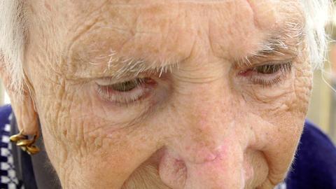 grandmother portrait focused on her eyes; wrinkled, retired, elderly Footage