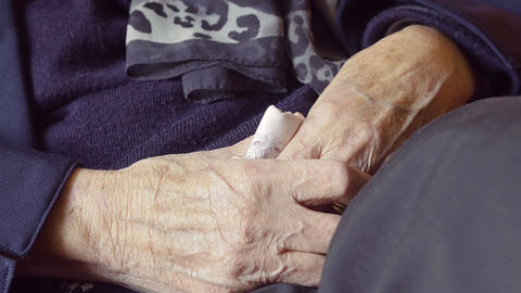 hands of an old woman: retired old woman, elderly wrinkled woman Footage
