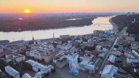 Historical district of Kyiv - Podil in the morning at dawn. Ukraine. Aerial view Live Action