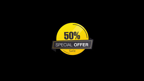 50 Percent Sales Discount Banner Animation with QuickTime / Alpha Channel / Prores 4444 Animation