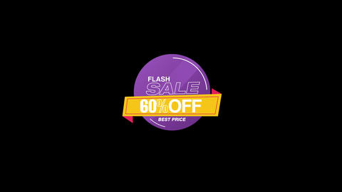 60% Percent Sales Discount Banner Animation with QuickTime / Alpha Channel / Prores 4444 Animation