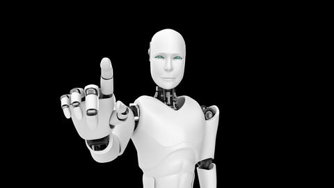 Futuristic robot, artificial intelligence CGI work on black and green background Live Action