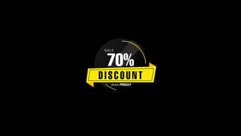 70% Percent Sales Discount Banner Animation with QuickTime / Alpha Channel / Prores 4444 Animation