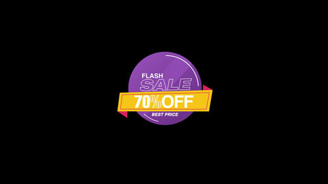 70 Percent Sales Discount Banner Animation with QuickTime / Alpha Channel / Prores 4444 Animation