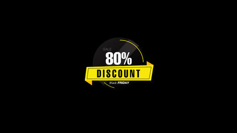 80% Percent Sales Discount Banner Animation with QuickTime / Alpha Channel / Prores 4444 Animation