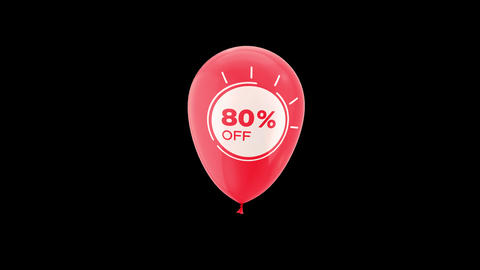 80% Percent Sales Discount Animation with QuickTime / Alpha Channel / Prores 4444 Animation