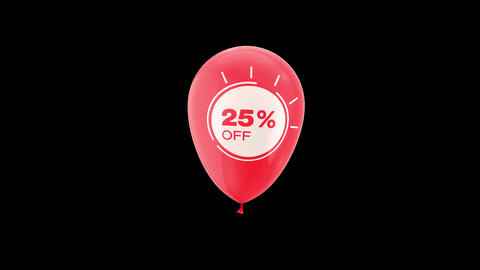 25% Percent Sales Discount Animation with QuickTime / Alpha Channel / Prores 4444 Animation
