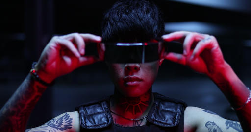 The guy is wearing futuristic glasses. Cyber world and the near future Live Action
