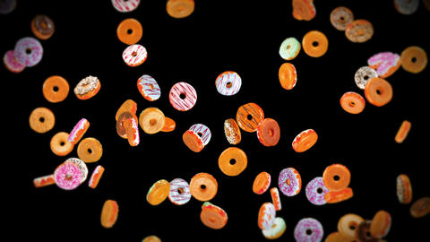 Flying many colorful donuts on black background. Doughnut cake, Sweets, Dessert. 3D animation of Animation