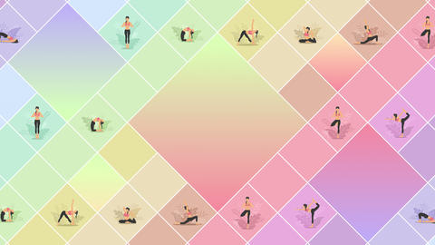 Yoga exercise in nature. Collection of female cartoon character demonstrating various yoga position. Animation