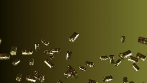 Flying many old fuel drums on brown background. Chemical industry, Metal barrels. 3D animation of Animation
