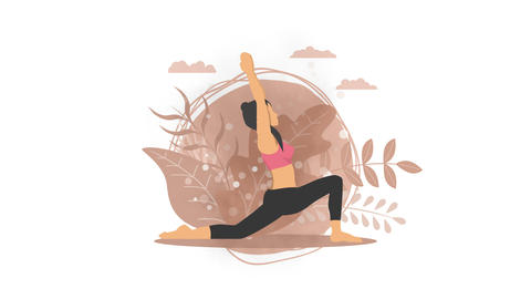Woman does yoga exercise in nature. Crescent moon pose. Female cartoon character demonstrating yoga Animation