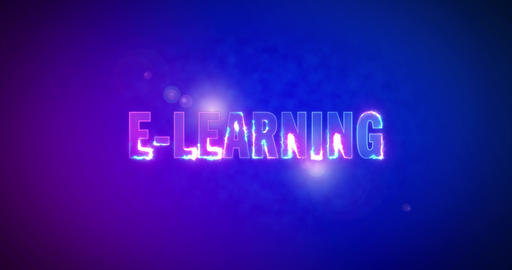 E-Learning. Electric lightning words. Logotype Animation