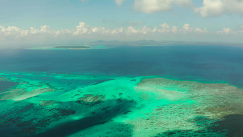 Tropical landscape with lagoons and tropical islands. Balabac, Palawan Live Action