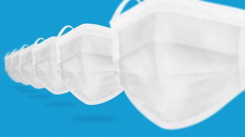 Many medical masks to cover mouth and nose for protection from virus. Health care concept. 3D Animation