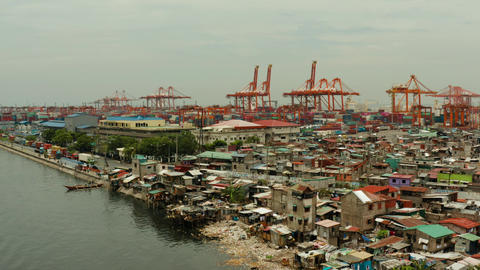industrial sea port with containers, Manila, Philippines Live Action