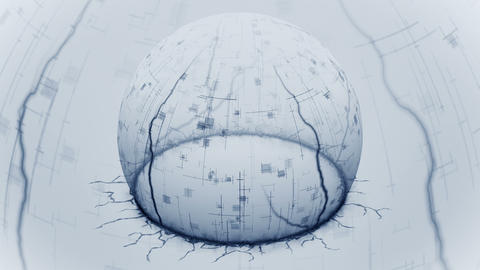Show digital sphere from cracked ground. Half of sphere shield. Concept of protection and safety. Animation