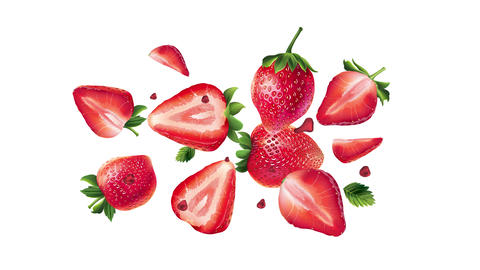 Fresh strawberries scatter on the alpha channel Animation