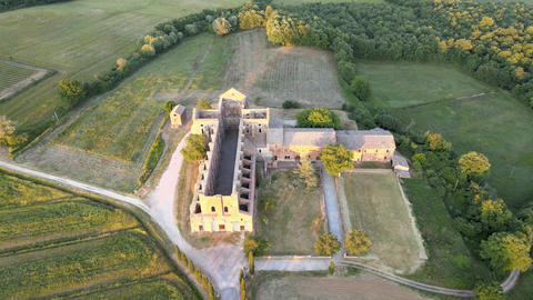 Amazing aerial view of beautiful San Galgano Abbey with roofless walls, Tuscany Live Action