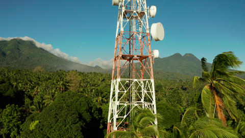 Telecommunication tower, communication antenna in asia Live Action