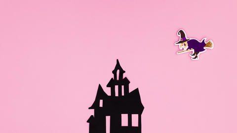 Happy Halloween stop motion witch fly out from creepy house Animation