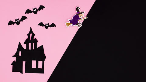 Happy Halloween stop motion with frame for text on pink black theme Animation
