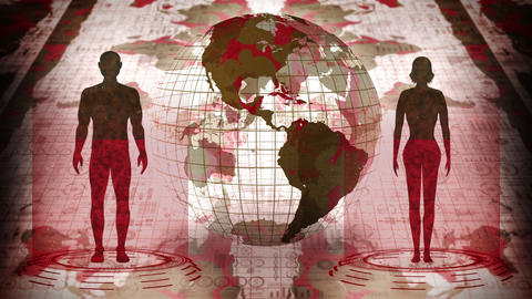 Human and Earth. Medical hologram loop animation. People virtual body. Earth will dying in red and Animation