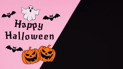 Happy Halloween pumpkins, ghosts and bats moving on left side. Stop motion Animation