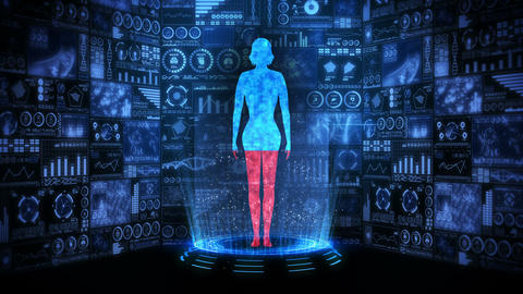 Woman and Earth. Medical hologram loop animation. Human virtual body. Earth will dyeing in red and Animation