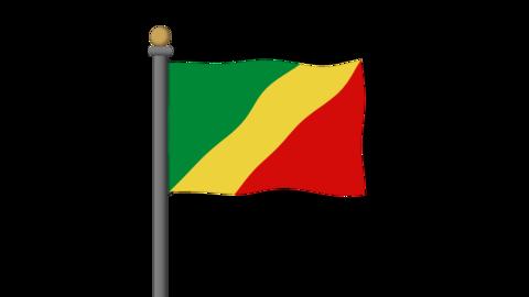 コンゴ共和国の国旗 背景はアルファチャンネルです。 CG動画