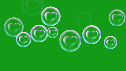 Heart bubbles motion graphics with green screen background Videos animados