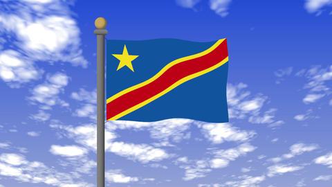 コンゴ民主共和国の国旗 背景の空には雲が流れています。 CG動画