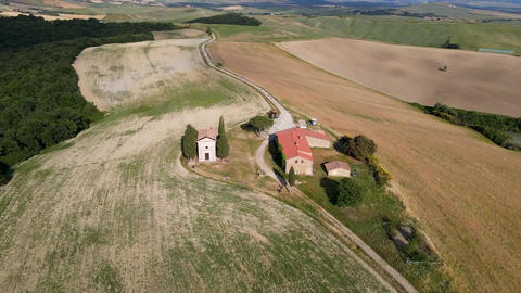 Vitaleta Chapel aerial view in the wonderful valley of Orcia, Tuscany. Circular Live Action